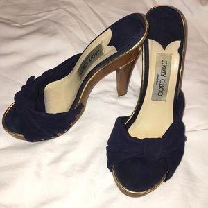 EUC Jimmy CHOO Black Sandals wooden heel 38 7.5 8